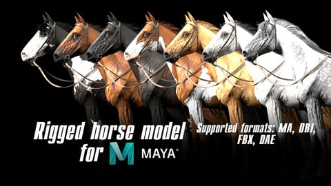 Horse rigged model for Maya Low-poly 3D model