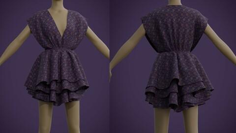 3D Floral Print Layered Ruffle summer Dress