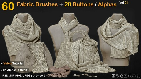 60 Fabric Brushes+20 Buttons / Alphas  Vol 01