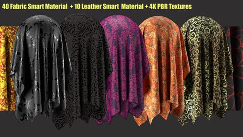 40 fabric smart material+10 leather smart material+4K PBR Textures