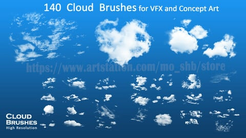 140 Cloud Brushes for Photoshop and Procreate