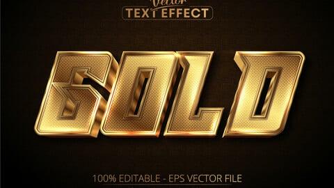 Text effect, luxury gold editable text on dark textured background