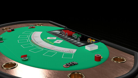 Poker table chips playing cards Low-poly 3D model
