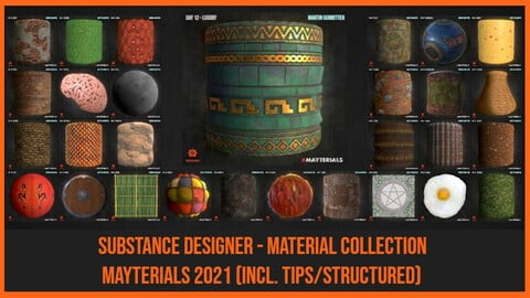 Substance Designer - 31 Stylized/Handpainted Materials Package (Mayterials 2021)