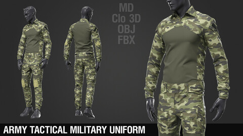 Army Tactical Camouflage Military Uniform / Marvelous Designer / Clo 3D project + obj + fbx