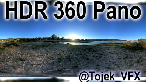 HDR 360 Panorama - Big Bear Lake CA - 126 Big Bear Frontier Beach lake and sunset