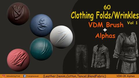 60 Clothing Folds & Wrinkles VDM Brush + Alphas Vol 1