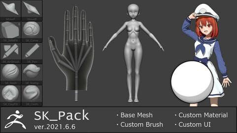 SK_Pack(2021.6.6)_v1(Custom brushes and base meshes for ZBrush)