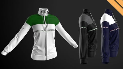 Ladies High-neck Jacket in Marvelous Designer