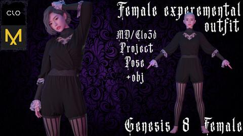 Clo3d/Marvelous designer Female experemental outfit. Zprj/Obj/Pose