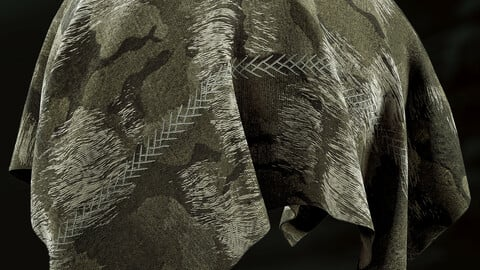 PBR - RIPPED WAR CAMOUFLAGE FABRIC - 4K MATERIAL