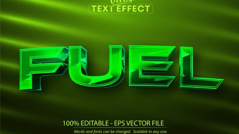 Fuel text, shiny green chrome color style editable text effect