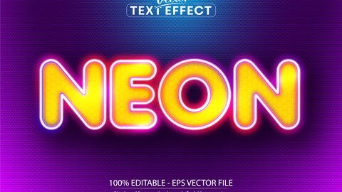 Neon text, neon style editable text effect