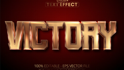 Victory text, luxury gold editable text effect on dark red textured background