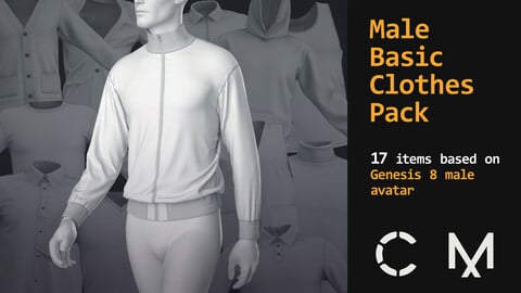 Male basic clothes pack. Marvelous / Clo 3D / 17 .zprj projects