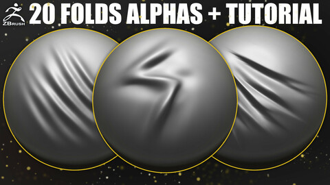 20 Folds Alphas for ZBrush