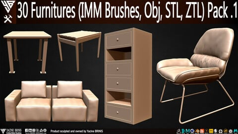 30 items of Furniture (IMM Brushes, OBJ, STL, & ZTL) Pack 1