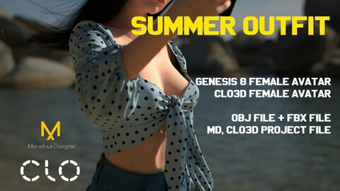 Casual Summer Female outfit, Clo3d Standart Female Avatar and Genesis 8 Female Avatar. MD, Clo3d Project file, OBJ and FBX files.