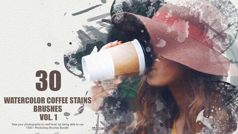 30 Watercolor Coffee Stains Brushes - Vol. 1