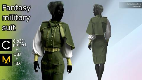 Fantasy military suit. Clo3D project, Marvelous Designer.