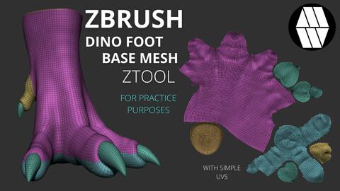 ZBRUSH - Dino Foot Base Mesh - ZTool (with basic UVs)