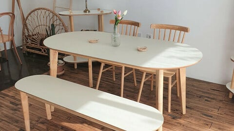 HPL laminate oval solid wood dining table (table) 1600