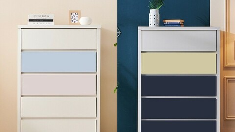 Vivian wide 5-tier chest of drawers 870 2colors