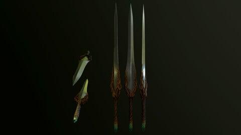 Low-Poly 3D Model Sword Roots