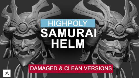 Samurai Helm Highpoly (clean & damaged)