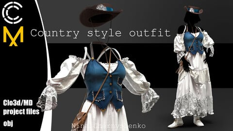 Country style outfit. Marvelous Designer/Clo3d project + OBJ.