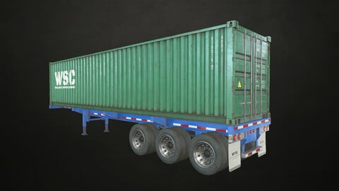 Container Trailer - Low Poly