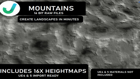 Unreal engine 4 & 5 realistic heightmaps: Mountains