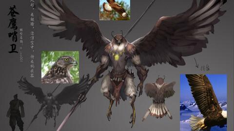 Low poly 3D Monster - Goshawk Sentinel
