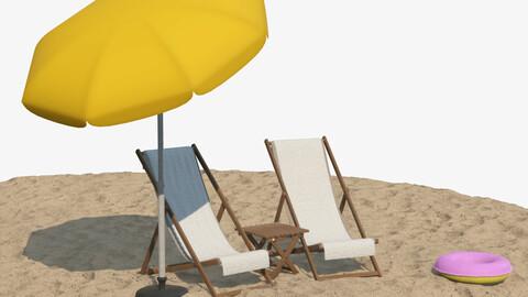 realistic 3D Deckchair Table Parasol Swimring Set PBR