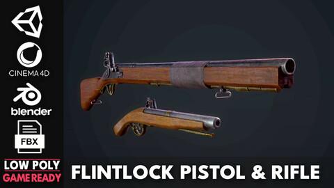 Flintlock pistol & Rifle  - Game Ready