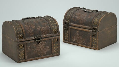 Brown wooden decorated box