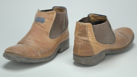 Brown mens leather shoe worn