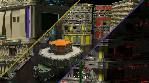 SCI FI Machinery and Crates 3D model SCI FI Machinery and Crates 3D model
