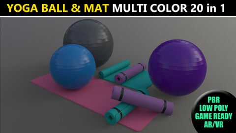 PBR Yoga Ball and Mat - Multi color Pack