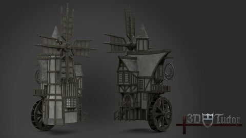 Medieval Windmill water wheel Pack Blender and Unreal Engine 5