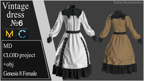 Vintage Dress №6. Clo 3D / Marvelous Designer project +obj