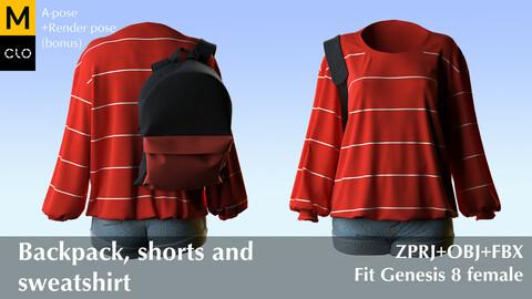 Backpack, shorts and sweatshirt