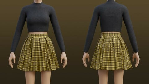 3D Plaid Pleated Mini skirt and turtleneck sweater outfit