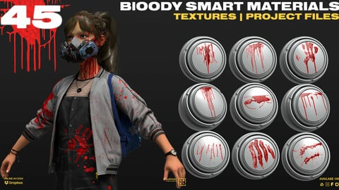 45 BLOOD Smart Materials , Stamps | Stencils [PBR Textures included]