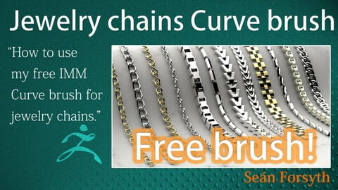 Free IMM curve brush for creating jewelry chains in ZBrush