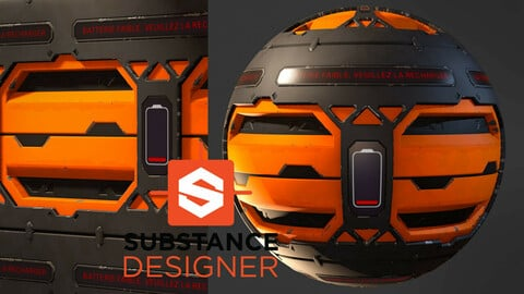 Stylized Industrial Sci-Fi Material - Substance Designer