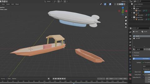Blimp, motor Boat, and Kayak Low Poly