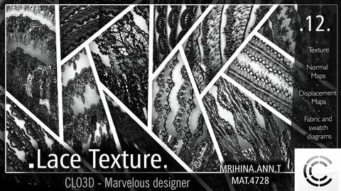 12 .Lace Texture. Clo3d, Marvelous Designer.
