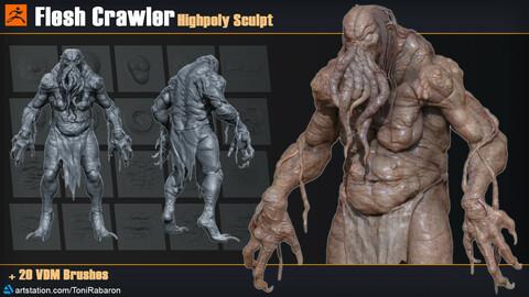 Flesh Crawler | Highpoly Sculpt + 20 VDM Brushes for Zbrush