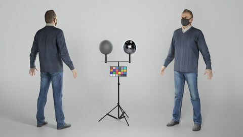 Man in casual clothes and face mask in A-pose 319